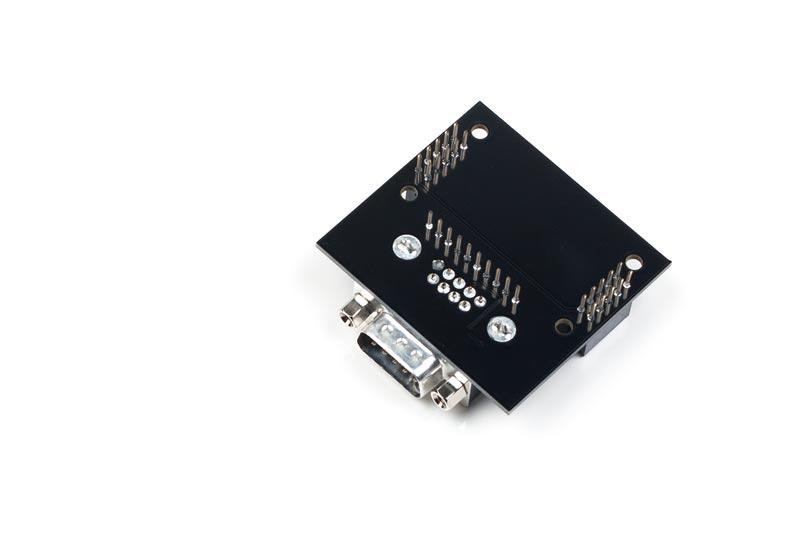 AB-002 ist ein stack2Learn Zusatzmodul. Auf diesem Board befindet sich ein MAX3232 Baustein der Firma TI. Das Board ist 52 x 51 mm groß und momentan in der Farbe Schwarz vorhanden.