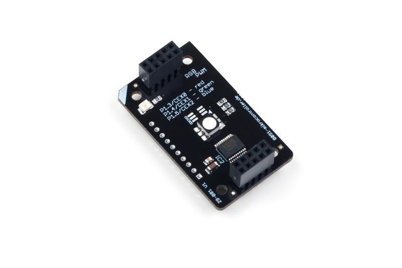 ZB-001 ist ein stack2Learn Zusatzmodul. Auf diesem Board befindet sich eine RGB LED. Das Board ist 30 x 51 mm groß. Und momentan in der Farbe Schwarz vorhanden.