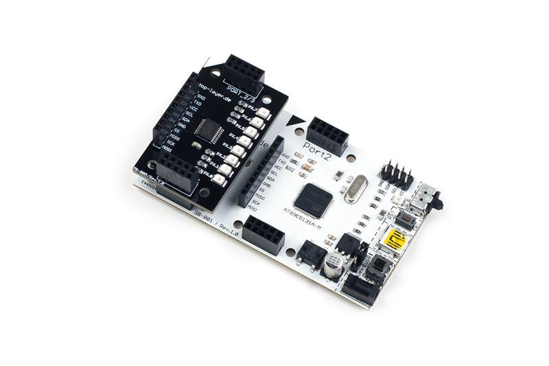 ZB-005 ist ein stack2Learn Zusatzmodul. Auf diesem Board befinden sich 8 LEDs. Das Board ist 30 x 51 mm groß. Und momentan in der Farbe Schwarz vorhanden.