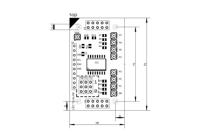 I2C-001 ist ein stack2Learn Zusatzmodul. Bei I2C-001 handelt es sich um eine I2C 8-bit Portexpander Zusatzplatine. Bestückt ist ein PCF8574 Baustein. Das Board ist 30 x 51 mm groß. Und momentan in der Farbe Blau vorhanden.